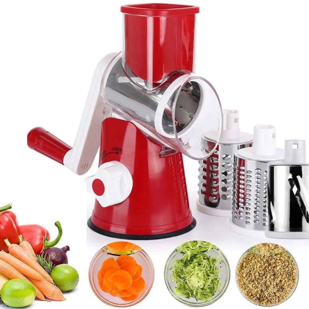 Овочерізка ручна мультислайсер Tabletop Drum Grater Kitchen Master Терка для овочів і фруктів 3 насадки