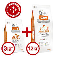 Brit Care Adult Medium Breed Lamb & Rice 12 кг +3 кг  для середніх порід з ягням