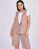 Женский летний костюм двойка жилетка шорты лен размер: 50-52, 54-56, 58-60, 62-64, фото 2