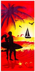 Пляжное полотенце Романтик/Лебеди/Дельфин (велюр) 70х140. Модель 1707