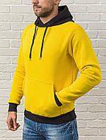 Желтая худи на флисе с черным капюшоном и манжетами (осень-зима)