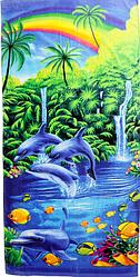Пляжное полотенце Дельфины (велюр) 70х140.