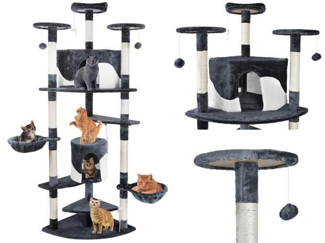 Когтеточка, домики, дряпка для кошек 200 см серо-белый