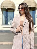 Пальто женское в клетку бежевое Д298