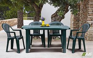 Комплект пластиковой мебели Sorrento Ischia зеленый цвет стол кресла для сада кафе