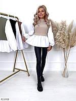 Блузка женская модная комбинированная имитация двойки из трикотажа и коттона р-ры 42-44,44-46 арт 235