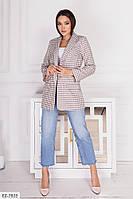 Классический красивый стильный женский пиджак удлиненный на подкладке арт 17246, фото 1