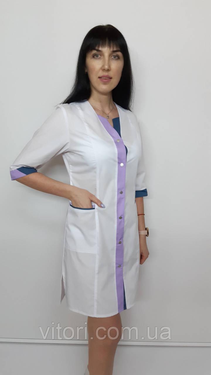 Медичний жіночий халат Сану бавовна три чверті рукав