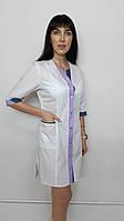 Медичний жіночий халат Сану бавовна три чверті рукав, фото 1