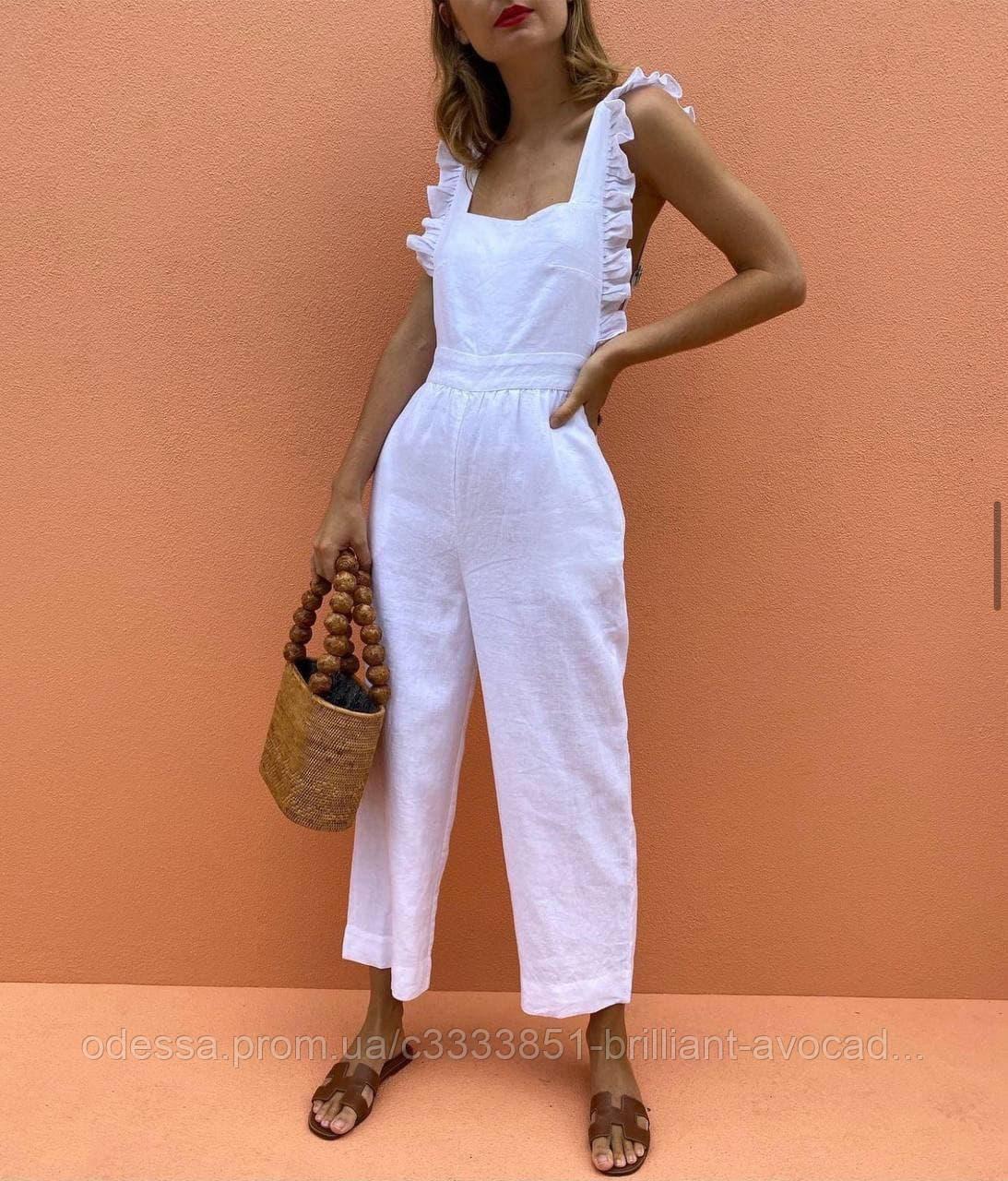 Жіночий модний лляної брючний комбінезон
