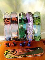 Скейт дитячий від 5 років, 8 видів, колесо d=5 cm, PVC, довжина дошки=43см дерево, 43х13х7 см
