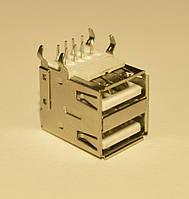 Гнездо USB-А монтажное сдвоенное 90*(угловое)  Китай