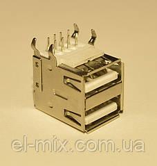 Гніздо USB-А монтажне здвоєне 90*(кутове) Китай
