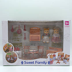 """Набір меблів Щаслива сім'я з флоксовим тваринами """"Кухня"""""""