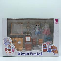 """Набор мебели Счастливая семья с флоксовым животными """"Ванная комната"""""""