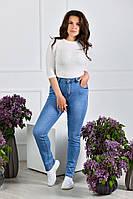 Женские джинсы стрейчевые большого размера БАТАЛ голубые тонкий летний джинс 50-58 фабриный Китай