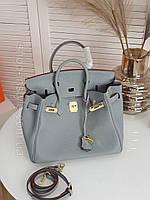 Голубая кожаная женская сумка Hermes Birkin 30см. Натуральная кожа. Люкс, фирменная упаковка!