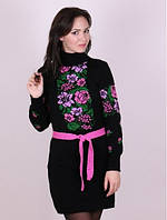 Платье вязаное Рябина  черный - розовый