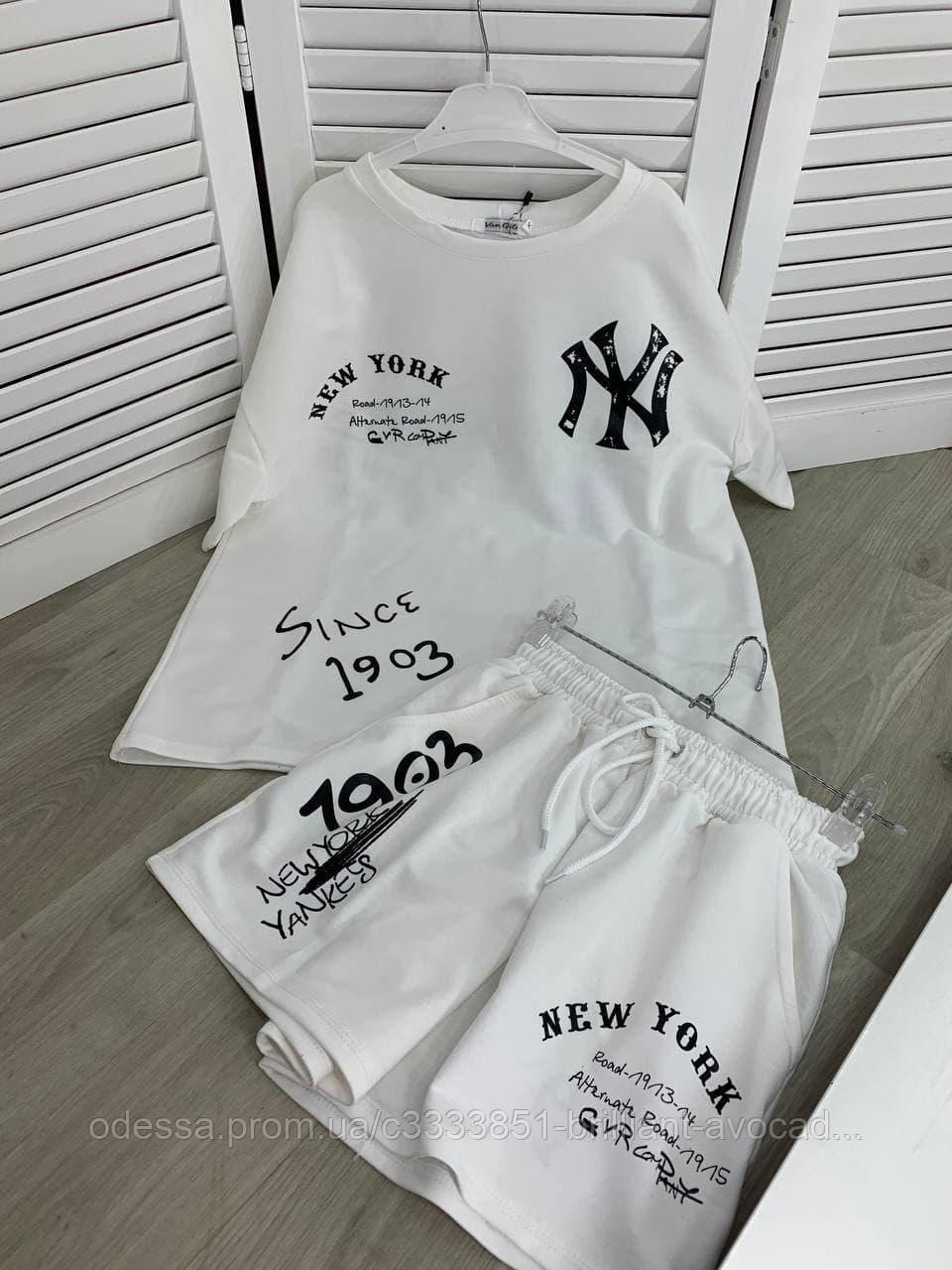 Жіночий прогулянковий літній костюм (футболка і шорти) з принтом New York