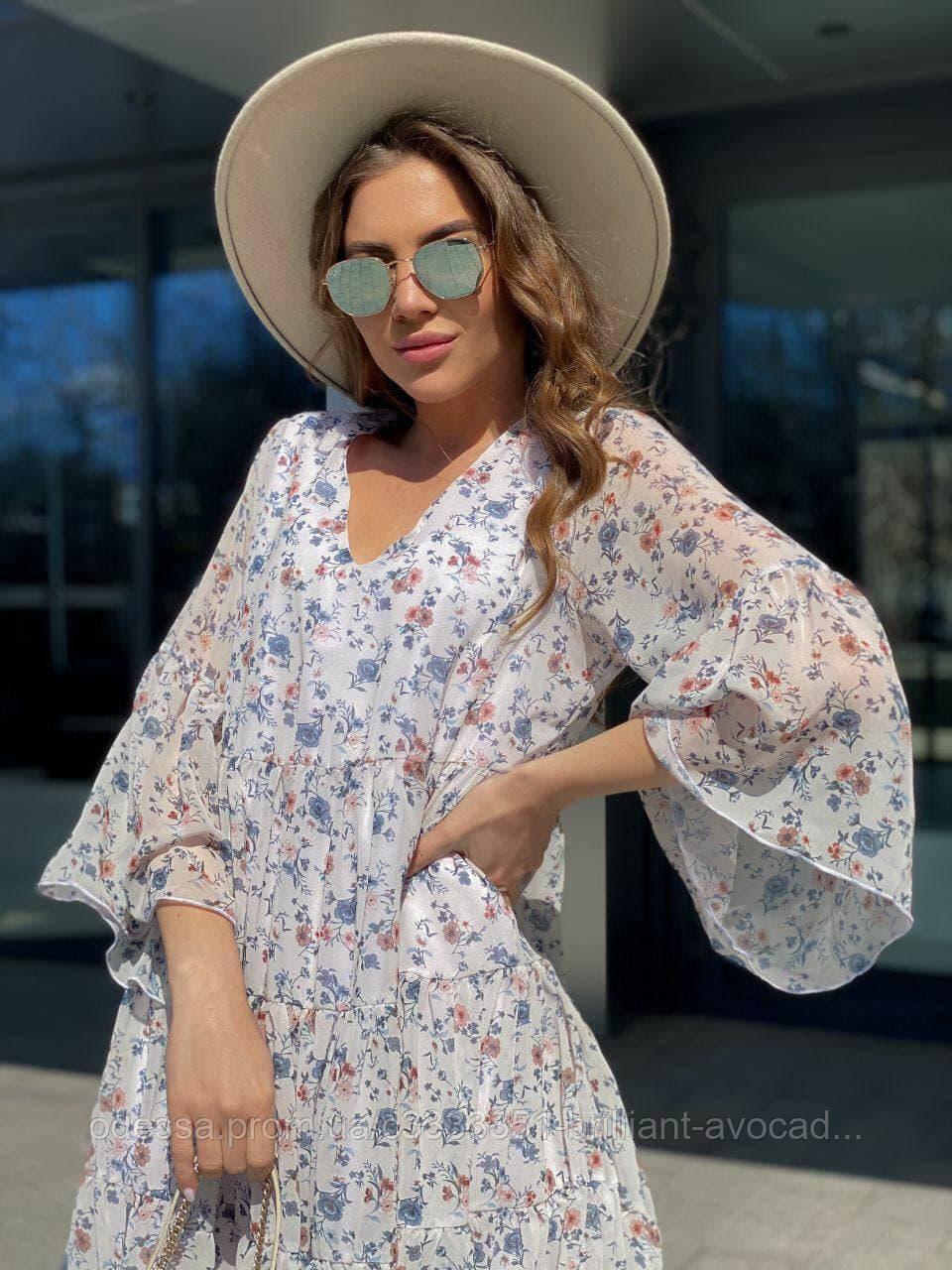 Женское летнее летящее шифоновое платье свободного кроя