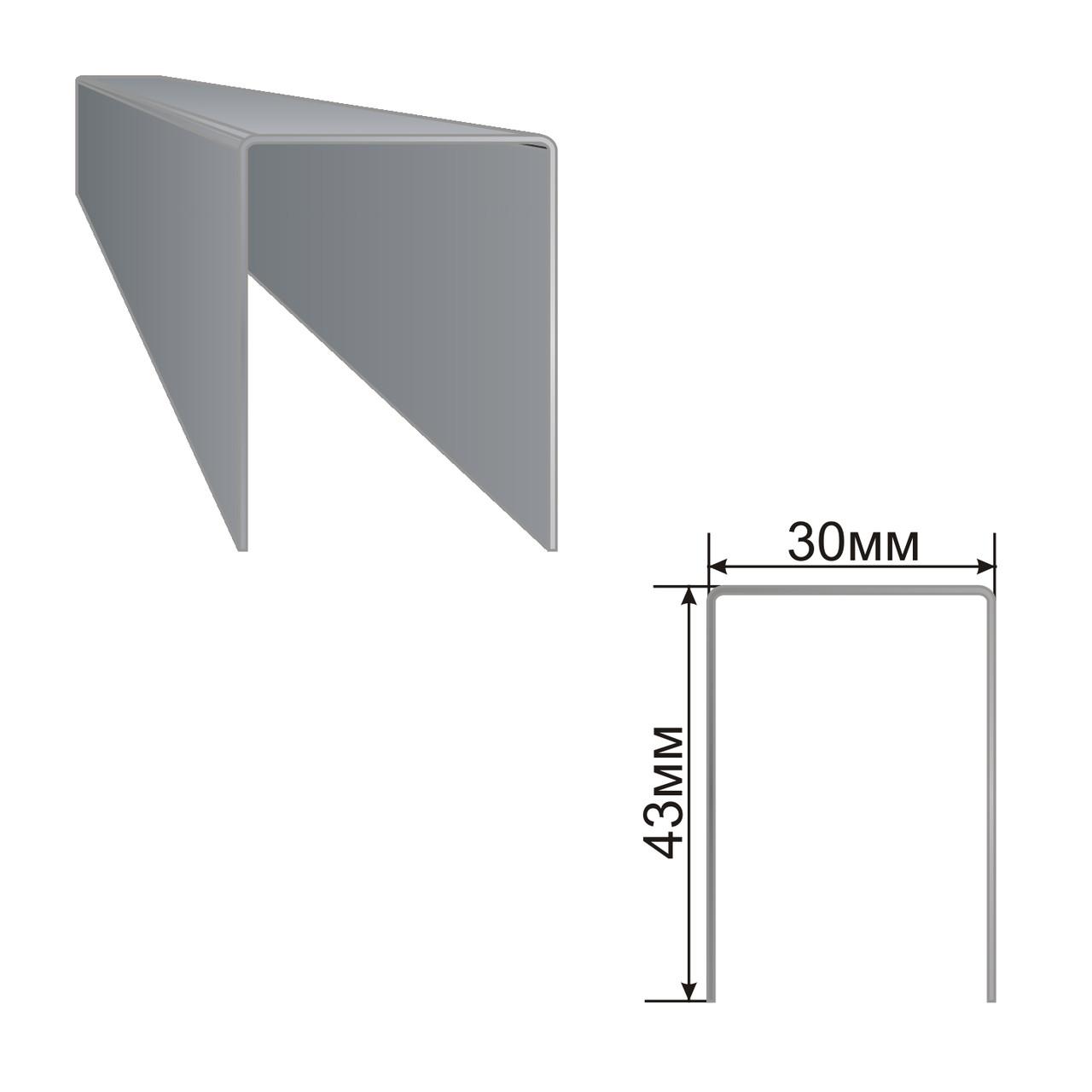 Армуючий профіль для вікон ПВХ 43x30x43
