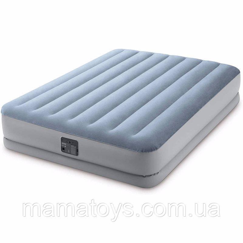 Надувне ліжко двоспальне 64168 Intex з вбудованим насосом 152-203-36 см