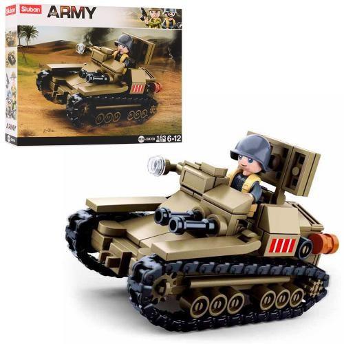 Конструктор військовий SLUBAN танк, фігурка, 183 деталей, в коробці 24-19-4,5 см