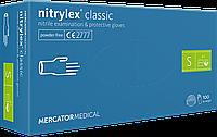 Перчатки нитриловые MERCATOR Nitrylex Classic неопудренные размер S 100 штук (50 пар) голубые/синие
