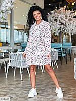 Летнее короткое платье-рубашка с поясом свободного кроя длинный рукав р-ры 42-48 арт.  1304