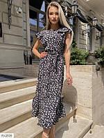 Легке довге жіноче плаття на літо з коротким рукавом та поясом р-ри 42-48 арт. 214