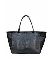 Сумка женская кожаная POOLPARTY Desire Leather Handbag Crocodile чёрная, фото 1