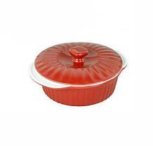 Кастрюля керамическая Kamille 1.5л для запекания с керамической крышкой Красная psgKM-6100, КОД: 396628