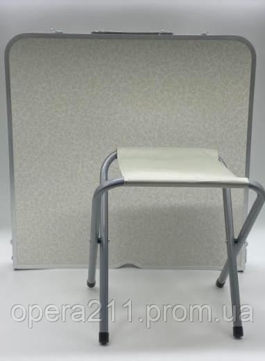 Стіл для пікніка з 4 стільцями Folding Table (60х120 см)) срібло (1шт)