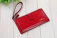 Элегантный женский бумажник, портмоне, кошелек, клатч с ремешком на запястье, красный цвет