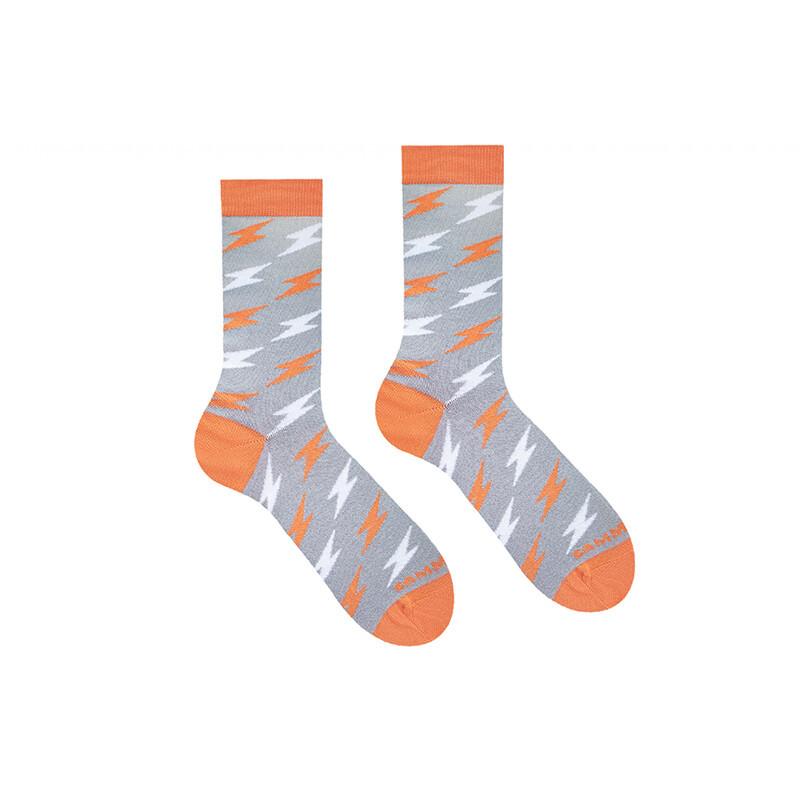 Шкарпетки Sammy Icon сірі з білими і помаранчевими блискавками Blixen Grey