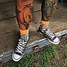 Шкарпетки Sammy Icon сірі з білими і помаранчевими блискавками Blixen Grey, фото 4