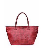 Сумка женская кожаная POOLPARTY Desire Leather Handbag Crocodile красная, фото 1