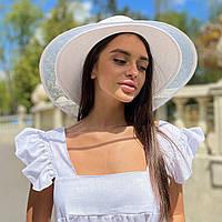 Шляпа женская летняя с широкими полями и сеткой белая