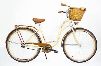 Велосипед жіночий міський VANESSA 28 crem з кошиком Польща