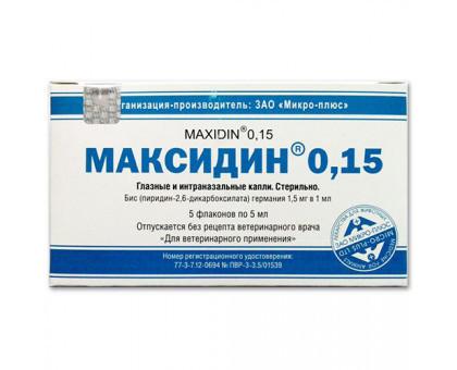 Краплі очні Micro-Plus Maxidin 0,15% при лікуванні кон'юнктивіту для собак і кішок 5 мл (ціна за 1 флакон)
