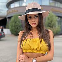 Шляпа унисекс летняя Федора с лентой розовая (пудра)