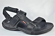 Мужские кожаные сандалии черные с серым Antec 16