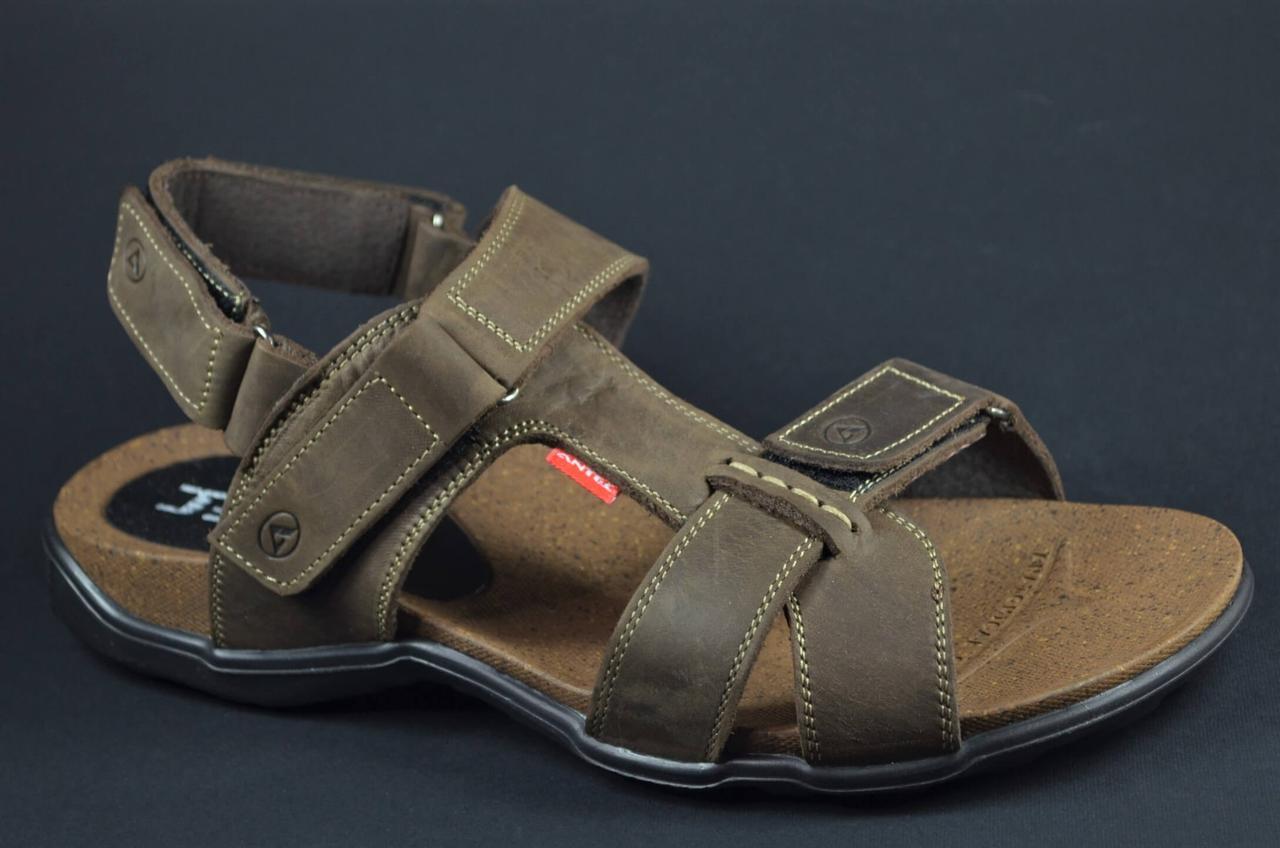 Чоловічі шкіряні сандалі коричневі Antec 16