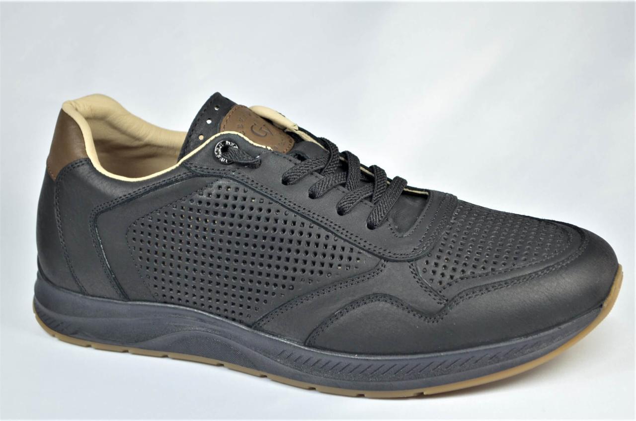 Чоловічі літні шкіряні кросівки перфорація чорні Cevivo 5255