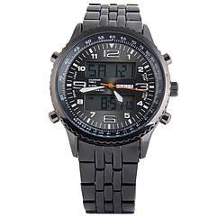 Часы кварцевые, классические Skmei 1032, черные, в металическом боксе