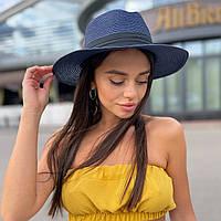 Шляпа унисекс летняя Федора с лентой синяя