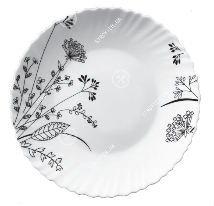 Тарілка обідня V-220BW Чорно-біле суцвіття Wave Vittora 220 мм