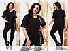 Повсякденний костюм жіночий з двуніткі чорний (2 кольори) PY/-1069