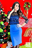 Красивое синее платье с черным кружевным топом. Арт-1426/17