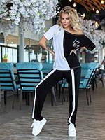 Модный женский костюм летний Брючный вискозный черно белый большого размера 52